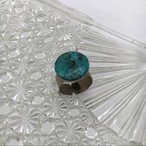 Vintage Unisex Turquoise Minimalist Silver Ring